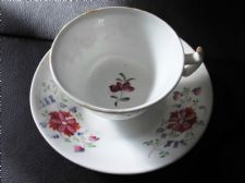ANTIQUE HANDPAINTED CUP & DEEP TEA BOWL SAUCER  FLORAL DESIGN ORNATE HANDLE
